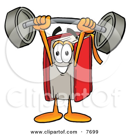 Clipart Picture of a Red Book Mascot Cartoon Character Holding a Heavy Barbell Above His Head by Toons4Biz