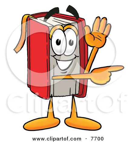 Clipart Picture of a Red Book Mascot Cartoon Character Waving and Pointing by Toons4Biz