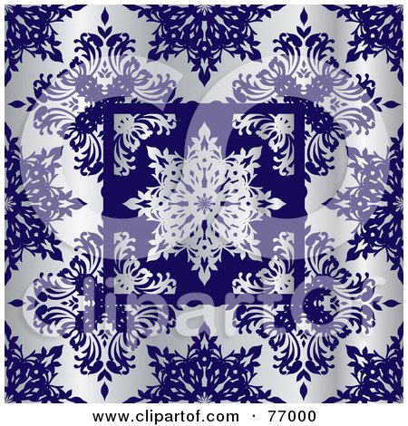 Royalty-Free (RF) Clipart Illustration of a Silver And Cobalt Snowflake Floral Pattern Background by michaeltravers