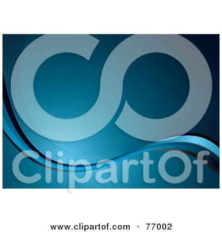 Royalty-Free (RF) Clipart Illustration of a Gradient Blue Background With Flowing Wire Waves by michaeltravers