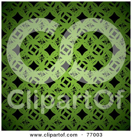 Royalty-Free (RF) Clipart Illustration of a Seamless Background Of Green Links Over Black by michaeltravers