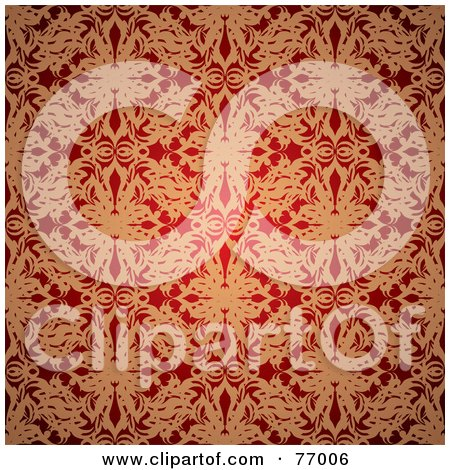 Royalty-Free (RF) Clipart Illustration of a Seamless Background Of Red And Golden Floral Silk by michaeltravers