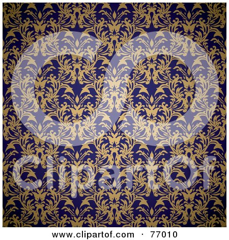 Seamless Background Of A Navy Blue And Beige Royal Floral