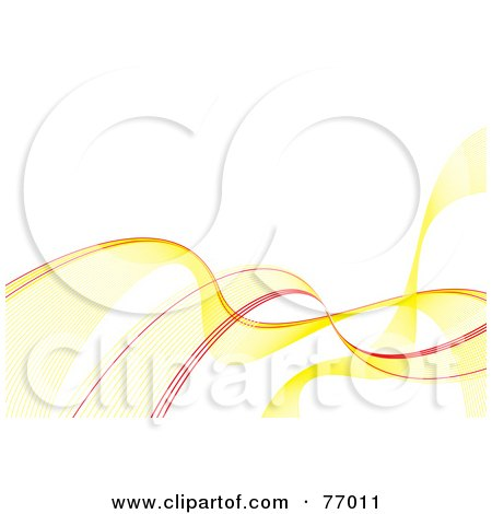 Royalty-Free (RF) Clipart Illustration of a White Background With Flowing Yellow And Red Waves by michaeltravers