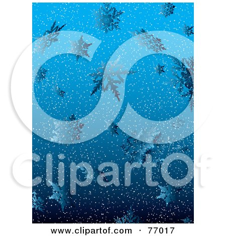Royalty-Free (RF) Clipart Illustration of a Blue Snowy Background With Icy Snowflakes by michaeltravers