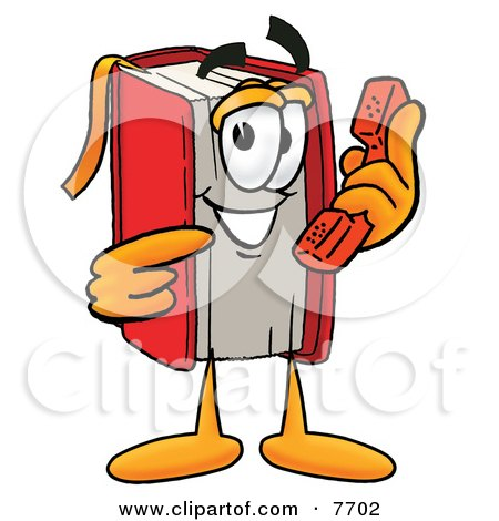 Clipart Picture of a Red Book Mascot Cartoon Character Holding a Telephone by Toons4Biz