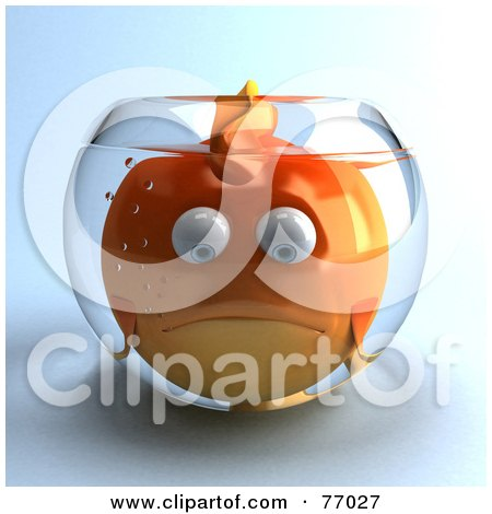 Royalty-Free (RF) Clipart Illustration of a 3d Sad Fat Goldfish Character In A Small Fish Bowl by Julos