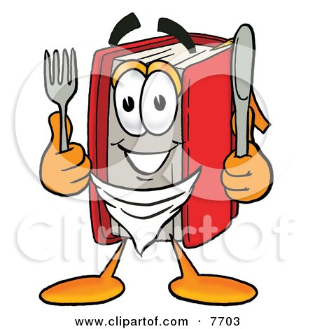 Clipart Picture of a Red Book Mascot Cartoon Character Holding a Knife and Fork by Toons4Biz