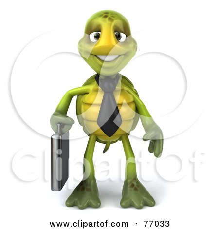 Royalty-Free (RF) Clipart Illustration of a 3d Green Tortoise Character Corporate Businessman With A Briefcase by Julos