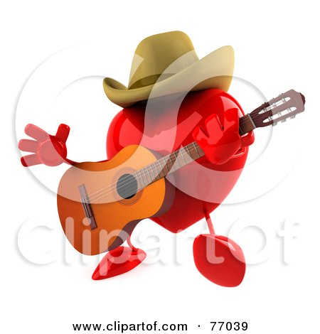 Royalty-Free (RF) Clipart Illustration of a 3d Red Heart Character Playing Country Music by Julos