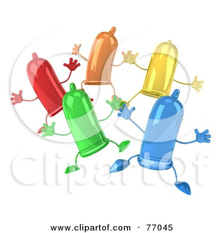 Royalty-Free (RF) Clipart Illustration of a 3d Group Of Colorful Happy Condom Characters Jumping by Julos