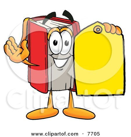 Clipart Picture of a Red Book Mascot Cartoon Character Holding a Yellow Sales Price Tag by Toons4Biz