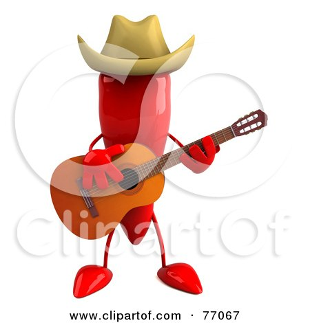 Royalty-Free (RF) Clipart Illustration of a 3d Red Chili Pepper Character Playing Country Music by Julos