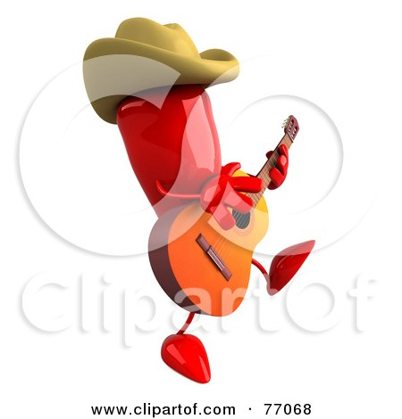 Royalty-Free (RF) Clipart Illustration of a 3d Red Chili Pepper Character Cowboy Musician by Julos