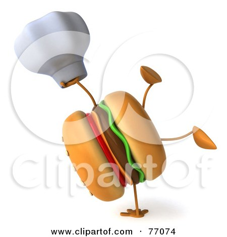 Royalty-Free (RF) Clipart Illustration of a 3d Cheeseburger Character Doing A Hand Stand And Holding A Chef Hat by Julos