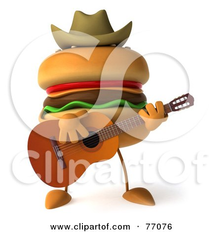 Royalty-Free (RF) Clipart Illustration of a 3d Cheeseburger Character Playing A Guitar And Wearing A Cowboy Hat by Julos
