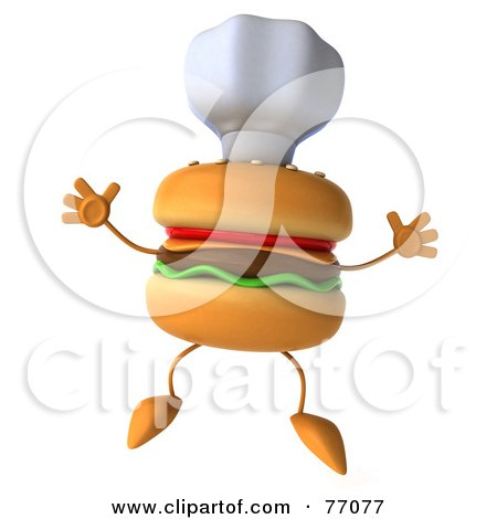 Royalty-Free (RF) Clipart Illustration of a 3d Cheeseburger Character Jumping And Wearing A Chef Hat by Julos