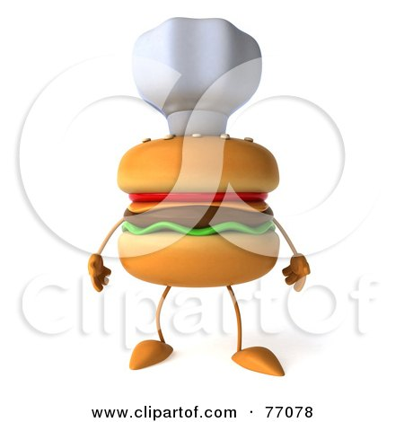 Royalty-Free (RF) Clipart Illustration of a 3d Cheeseburger Character Wearing A Chef Hat by Julos