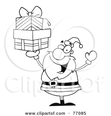 Royalty-Free (RF) Clipart Illustration of a Black And White Coloring Page Outline Of Santa Holding Up Gifts by Hit Toon