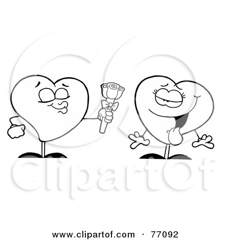 Royalty-Free (RF) Clipart Illustration of a Black And White Coloring Page Outline Of A Male Heart Giving His Love A Rose by Hit Toon