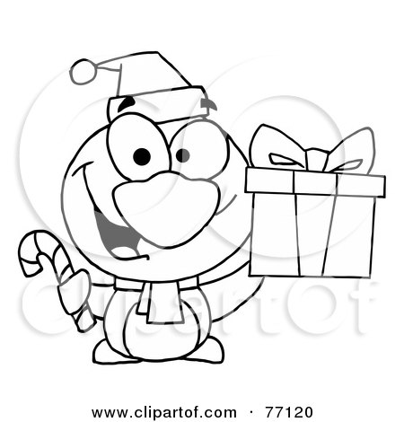 White Coloring Page Outline Of A Penguin Holding Gift And Candy Cane