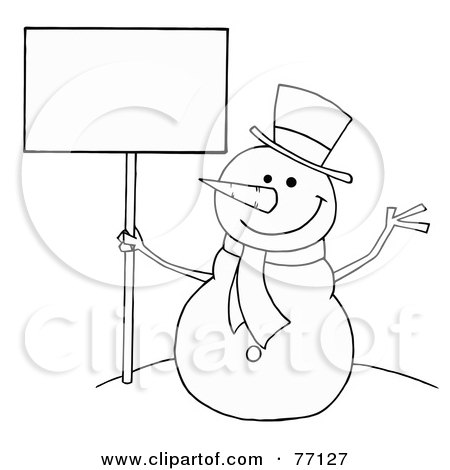 Royalty-Free (RF) Clipart Illustration of a Black And White Coloring Page Outline Of A Snowman Holding A Sign by Hit Toon