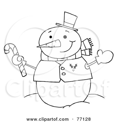 Royalty-Free (RF) Clipart Illustration of a Black And White Coloring Page Outline Of A Snowman Holding A Candy Cane by Hit Toon
