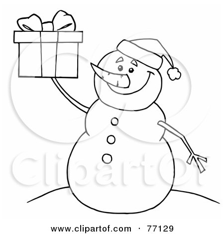 Royalty-Free (RF) Clipart Illustration of a Black And White Coloring Page Outline Of A Snowman Holding A Gift by Hit Toon