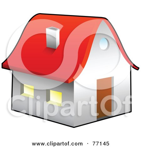 Royalty-Free (RF) Clipart Illustration of a White House Or Church With A Red Roof by Jiri Moucka