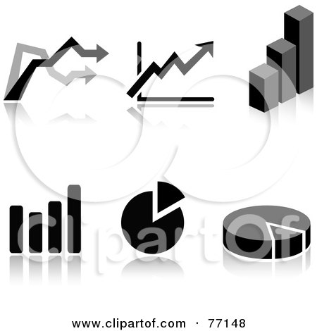 Royalty-Free (RF) Clipart Illustration of a Digital Collage Of Black And White Arrow, Pie And Bar Graph Icons With Reflections by Jiri Moucka
