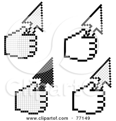 Royalty-Free (RF) Clipart Illustration of a Digital Collage Of Black And White Hand Cursors Holding Arrows by Jiri Moucka