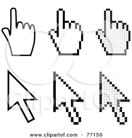Royalty-Free (RF) Clipart Illustration of a Digital Collage Of Black And White Arrow And Hand Cursors by Jiri Moucka