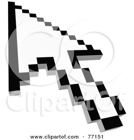Royalty-Free (RF) Clipart Illustration of a Black And White Arrow Cursor Pointing - Version 1 by Jiri Moucka
