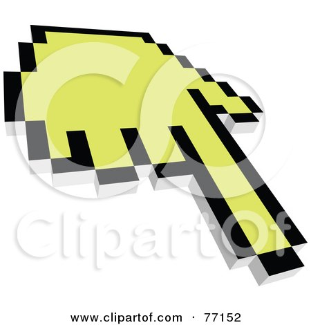 Royalty-Free (RF) Clipart Illustration of a Black And Yellow Hand Cursor Pointing by Jiri Moucka