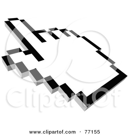 Royalty-Free (RF) Clipart Illustration of a Black And White Hand Cursor Pointing - Version 2 by Jiri Moucka