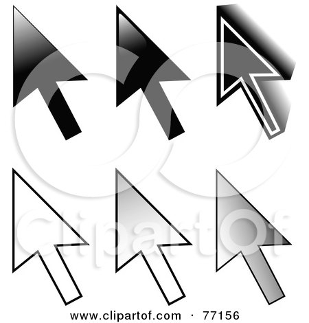 Royalty-Free (RF) Clipart Illustration of a Digital Collage Of Six Black And White Arrow Cursors by Jiri Moucka