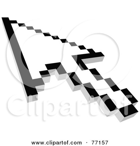 Royalty-Free (RF) Clipart Illustration of a Black And White Arrow Cursor Pointing - Version 2 by Jiri Moucka