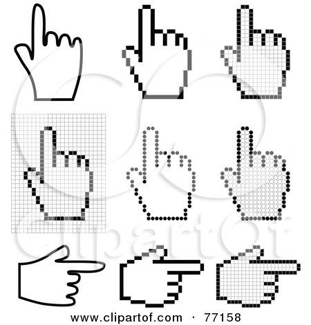 Royalty-Free (RF) Clipart Illustration of a Digital Collage Of Black And White Hand Cursors Pointing by Jiri Moucka