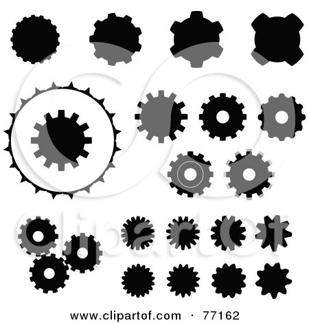 Royalty-Free (RF) Clipart Illustration of a Digital Collage Of Black And White Gear Icons by Jiri Moucka