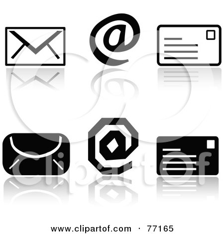 Royalty-Free (RF) Clipart Illustration of a Digital Collage Of Black And White Email Icons With Reflections by Jiri Moucka