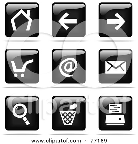Royalty-Free (RF) Clipart Illustration of a Digital Collage Of Shiny Black And White Square Internet Browser Website Button Icons by Jiri Moucka