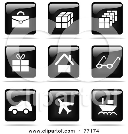 Royalty-Free (RF) Clipart Illustration of a Digital Collage Of Shiny Black And White Square Travel Website Button Icons by Jiri Moucka