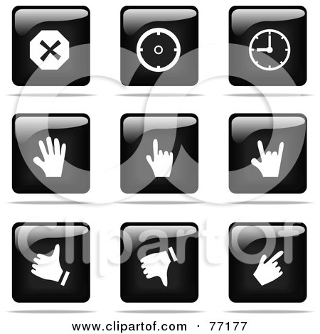 Royalty-Free (RF) Clipart Illustration of a Digital Collage Of Shiny Black And White Square Time And Hand Website Button Icons by Jiri Moucka