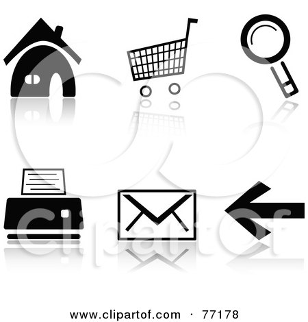 Royalty-Free (RF) Clipart Illustration of a Digital Collage Of Black And White Home, Cart, Search, Print, Email And Back Browser Icons With Reflections by Jiri Moucka