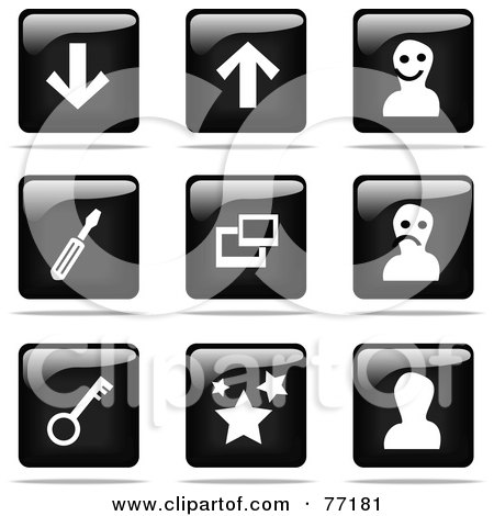 Royalty-Free (RF) Clipart Illustration of a Digital Collage Of Shiny Black And White Square Arrow, Avatar, Tool, Photos, Security And Favorite Website Button Icons by Jiri Moucka