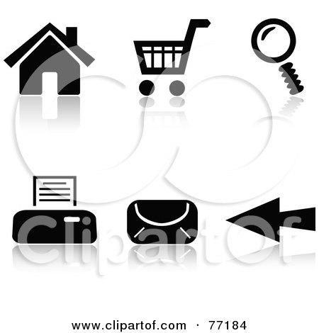 Royalty-Free (RF) Clipart Illustration of a Digital Collage Of Black And White Internet Browser Icons With Reflections by Jiri Moucka