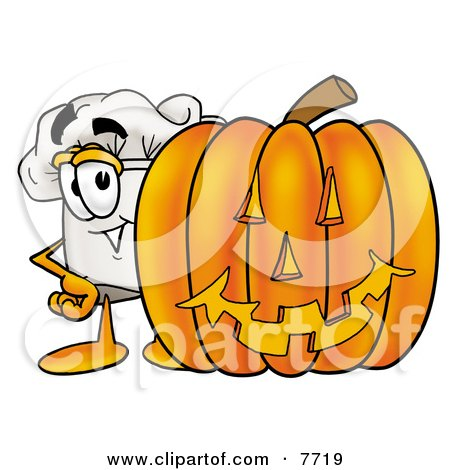 Clipart Picture of a Chefs Hat Mascot Cartoon Character With a Carved Halloween Pumpkin by Toons4Biz
