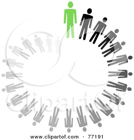 Royalty-Free (RF) Clipart Illustration of a Spiraling Circle Of Black And Gray Paper People Standing Behind A Green Leader by Jiri Moucka