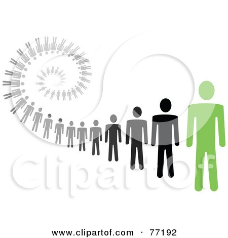 Royalty-Free (RF) Clipart Illustration of a Spiral Of Black And Gray Paper People Standing Behind A Green Leader - Version 1 by Jiri Moucka