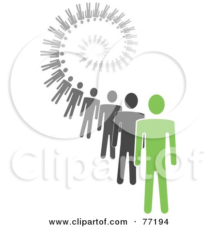 Royalty-Free (RF) Clipart Illustration of a Spiral Of Black And Gray Paper People Standing Behind A Green Leader - Version 4 by Jiri Moucka